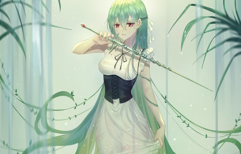 Photo wallpaper greens, girl, waterfall