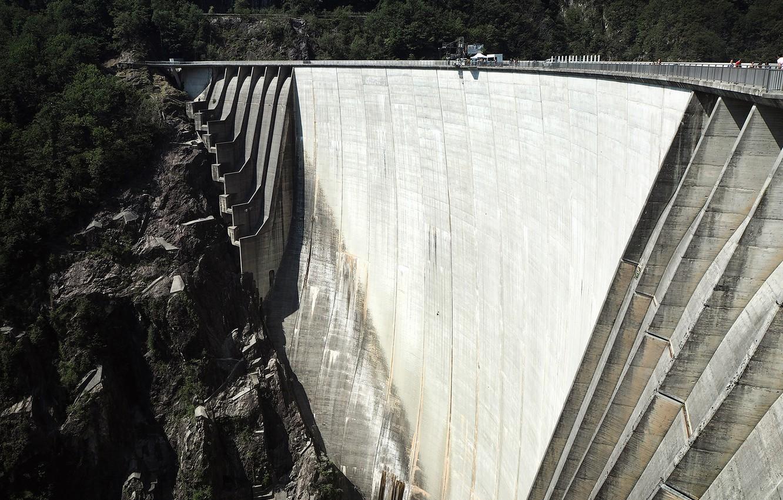 Photo wallpaper design, dam, Switzerland, Locarno, 220 meter high Verzasca dam Dam
