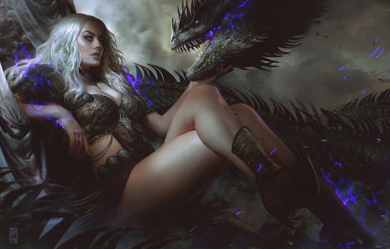 Photo wallpaper look, girl, pose, magic, dragon, fantasy, art