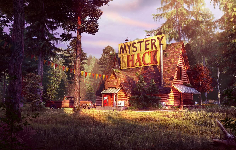 Photo wallpaper forest, pickup, Gravity Falls, Gravity Falls, the mystery shack