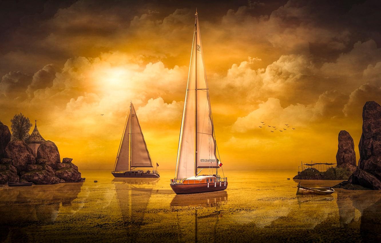 Photo wallpaper the sky, the sun, clouds, light, landscape, sunset, birds, nature, reflection, rendering, rocks, shore, boat, …