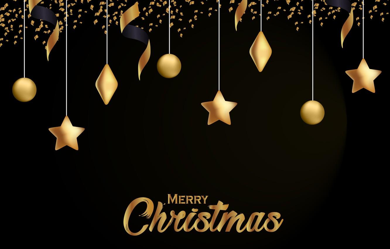 Wallpaper Decoration Gold New Year Christmas Golden Black