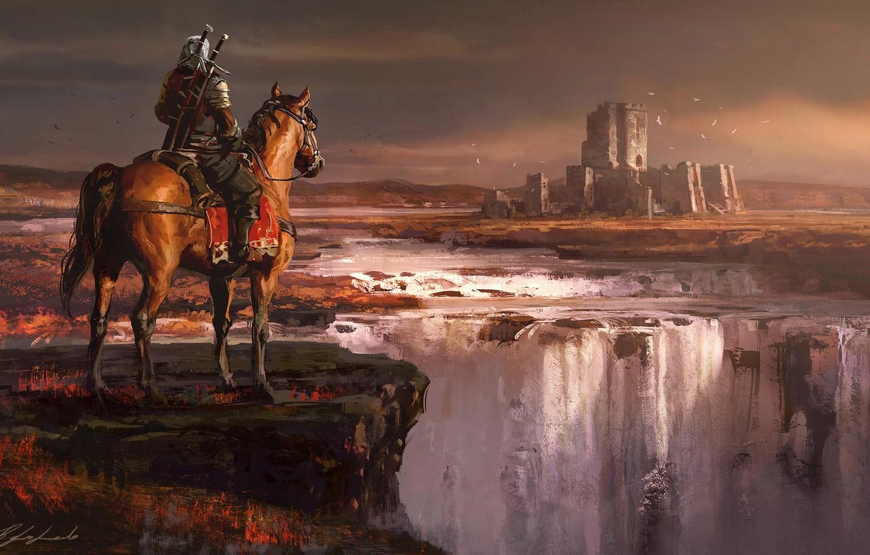 Photo wallpaper Horse, Night, Waterfall, Forest, Castle, Warrior, Fantasy, Art, Fiction, Geralt, Castle, Witcher, Geralt of Rivia, …