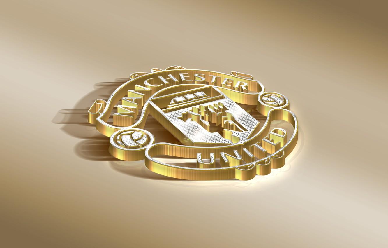 Photo wallpaper Logo, Golden, Football, Manchester United, Soccer, Silver, Emblem, English Club