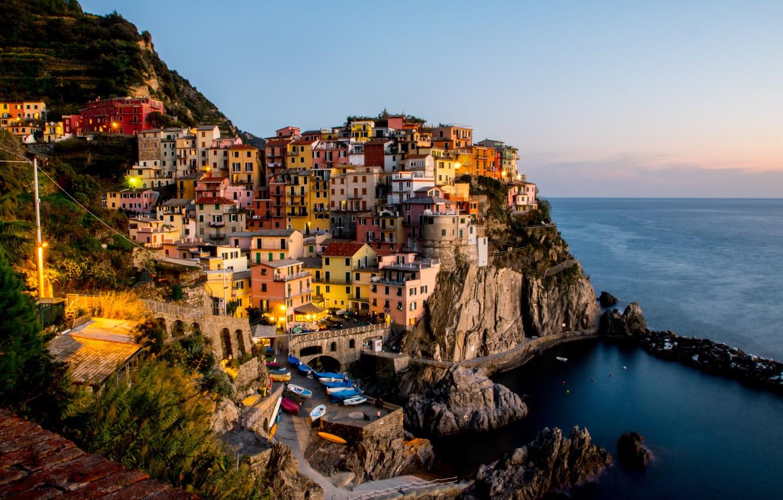 Photo wallpaper sea, sunset, city, coast, home, boats, Italy, Bay, sea, landscape, Italy, coast, sunset, panorama, beautiful, …