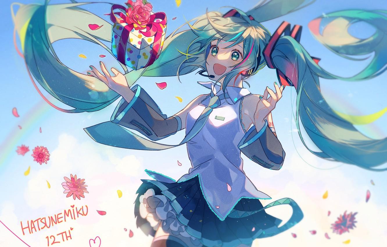 Photo wallpaper box, gift, Hatsune Miku, Vocaloid, Vocaloid, blue hair, Hatsune Miku
