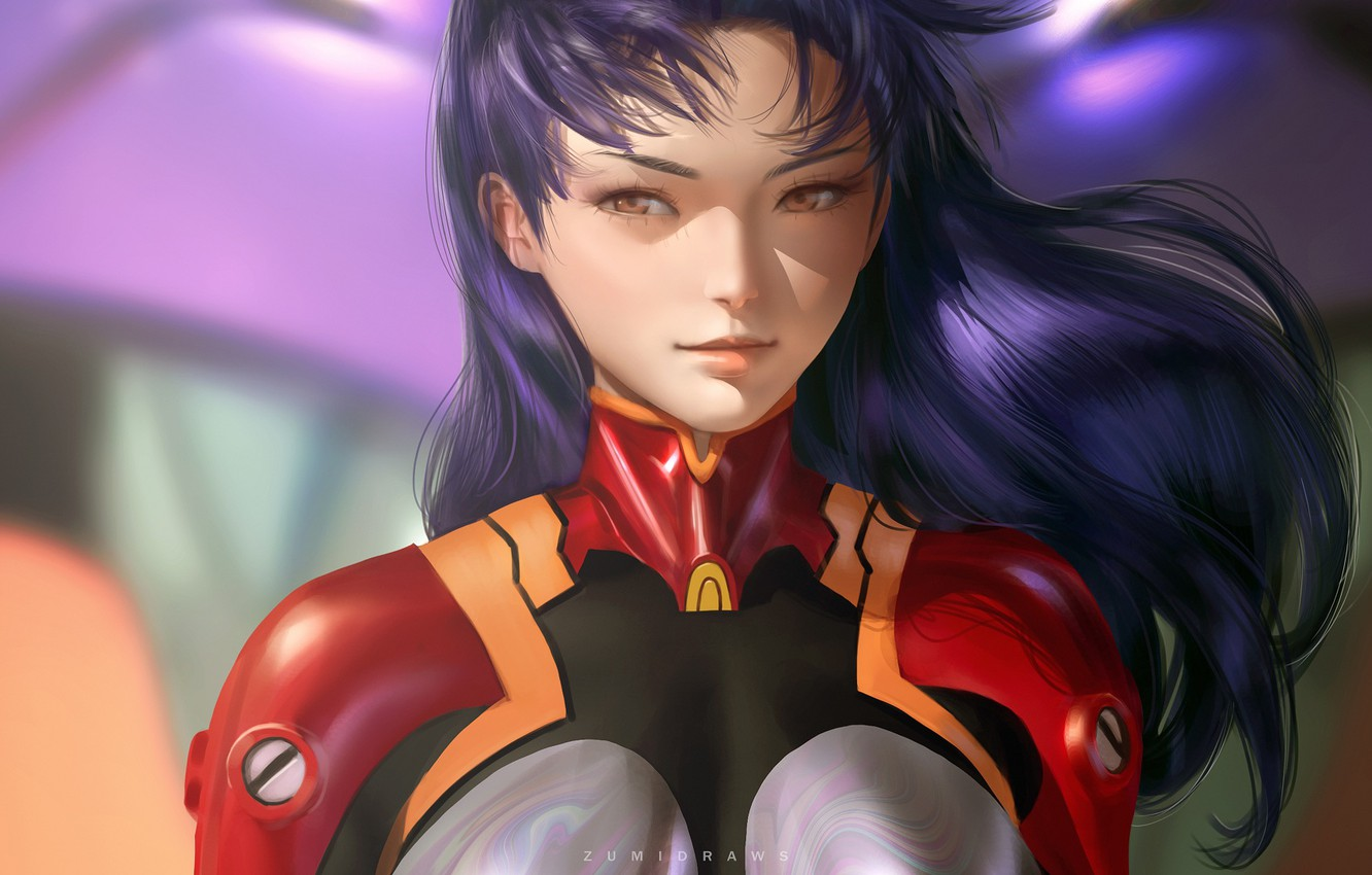 Photo wallpaper girl, Evangelion, Evangelion, Misato Katsuragi