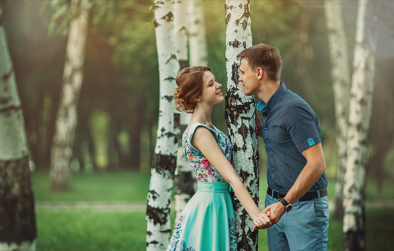 Photo wallpaper summer, girl, trees, nature, romance, pair, guy, birch, lovers