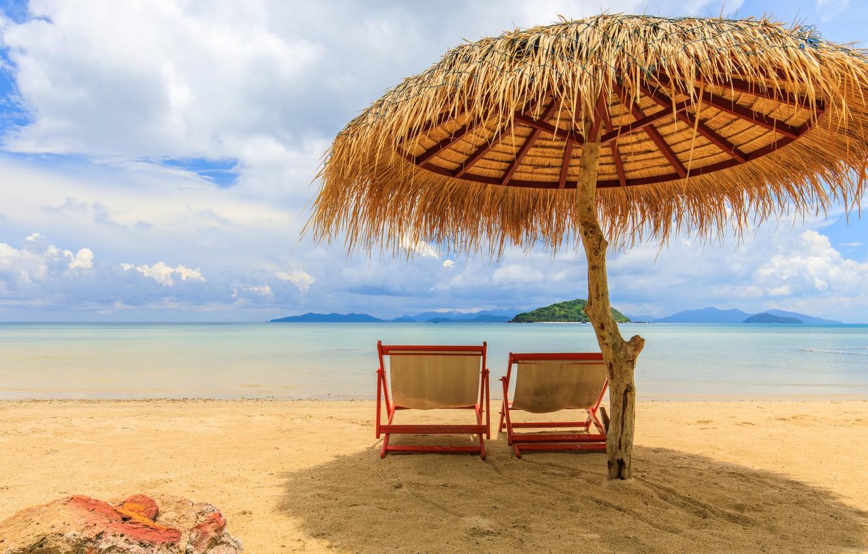 Photo wallpaper sand, sea, beach, summer, the sky, the sun, palm trees, shore, umbrella, chaise, summer, beach, …
