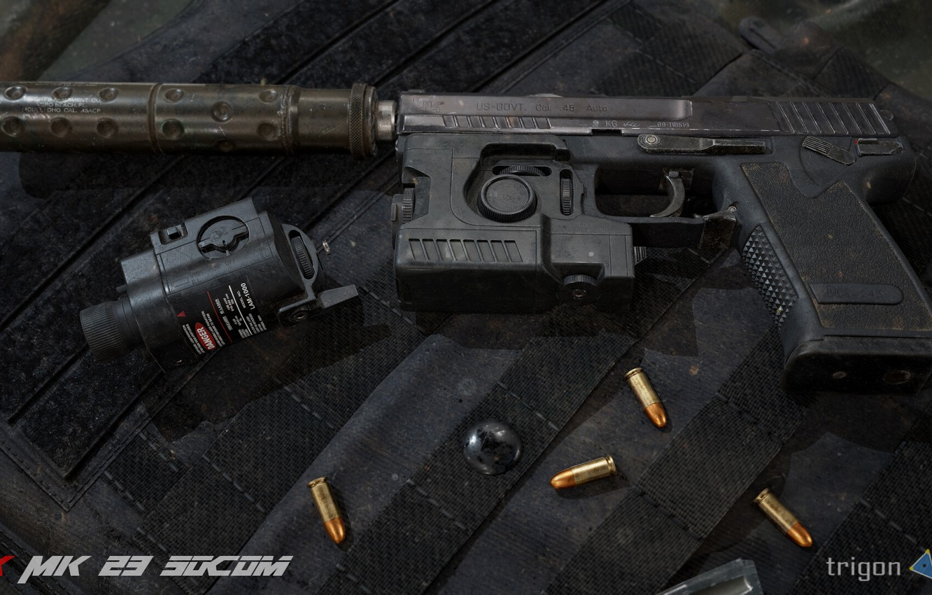 Photo wallpaper rendering, gun, Weapons, gun, pistol, weapon, render, muffler, render, Tactical, 3d art, Heckler Koch, HK …