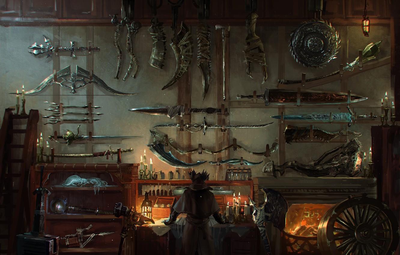 Photo wallpaper weapons, sword, workshop, weapon, bloodborne