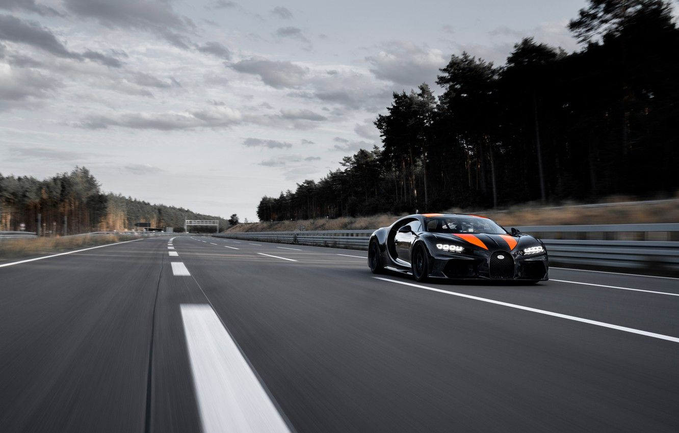 Photo wallpaper asphalt, trees, strip, Bugatti, track, hypercar, Chiron, Super Sport 300+