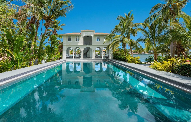 Photo wallpaper palm trees, Villa, pool, Miami, Miami Beach
