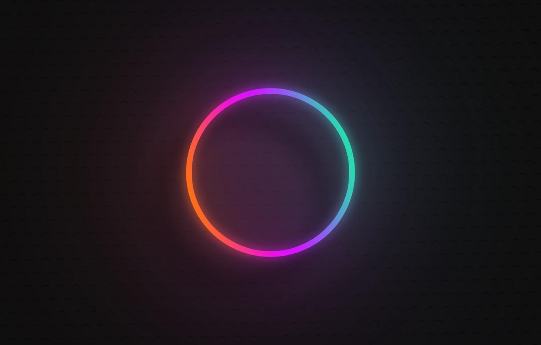 Photo wallpaper round, gradient, neon, sign, neon gradient, neon circle, neon rainbow circle