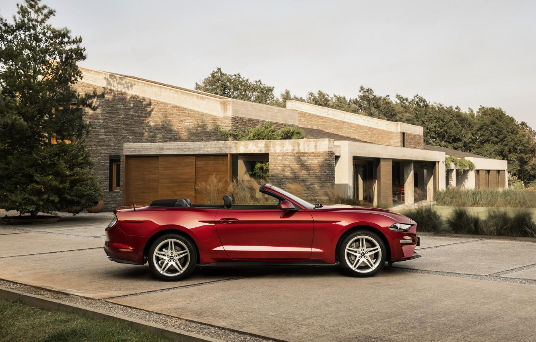 Photo wallpaper Ford, Parking, profile, convertible, 2018, dark red, Mustang Convertible