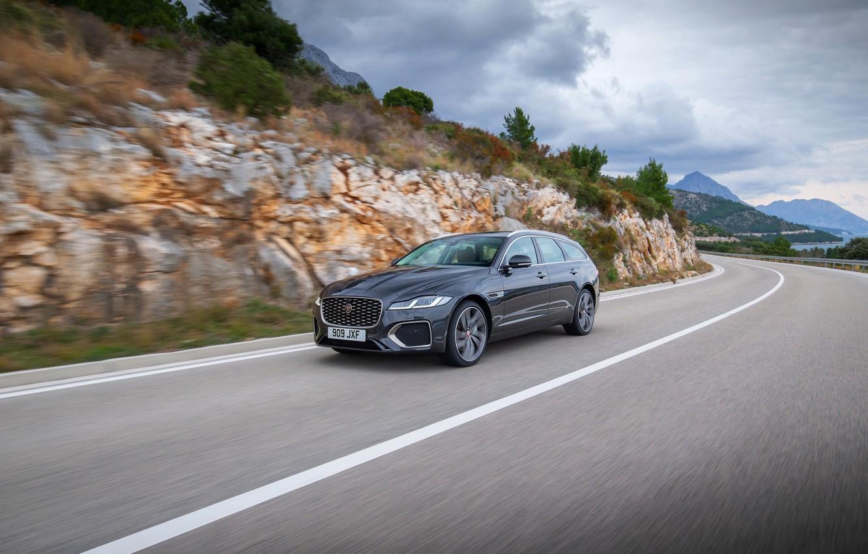 Photo wallpaper road, markup, Jaguar, in motion, universal, Jaguar XF, 2020, XF, XF Sportbrake