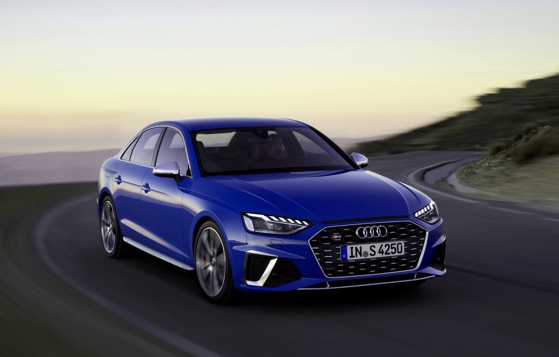 Photo wallpaper blue, movement, Audi, sedan, Audi A4, Audi S4, 2019