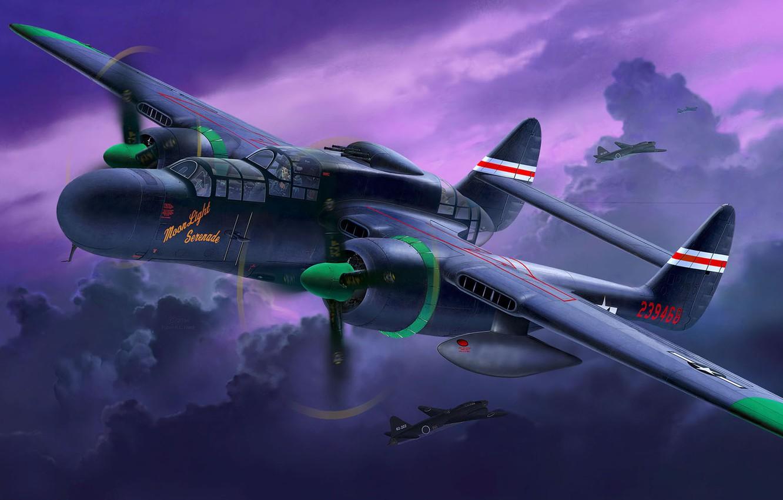 Photo wallpaper Northrop, UNITED STATES AIR FORCE, P-61, Black Widow, Black widow, American heavy night fighter