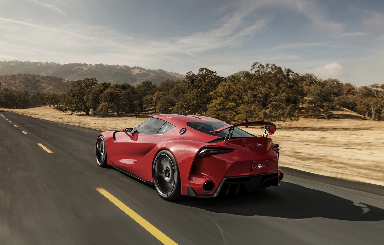 Photo wallpaper red, coupe, speed, Toyota, wing, 2014, FT-1 Concept