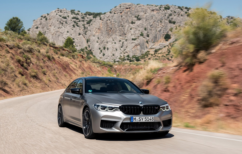 Photo wallpaper road, mountains, grey, rocks, hills, BMW, sedan, 4x4, 2018, four-door, M5, V8, F90, M5 Competition