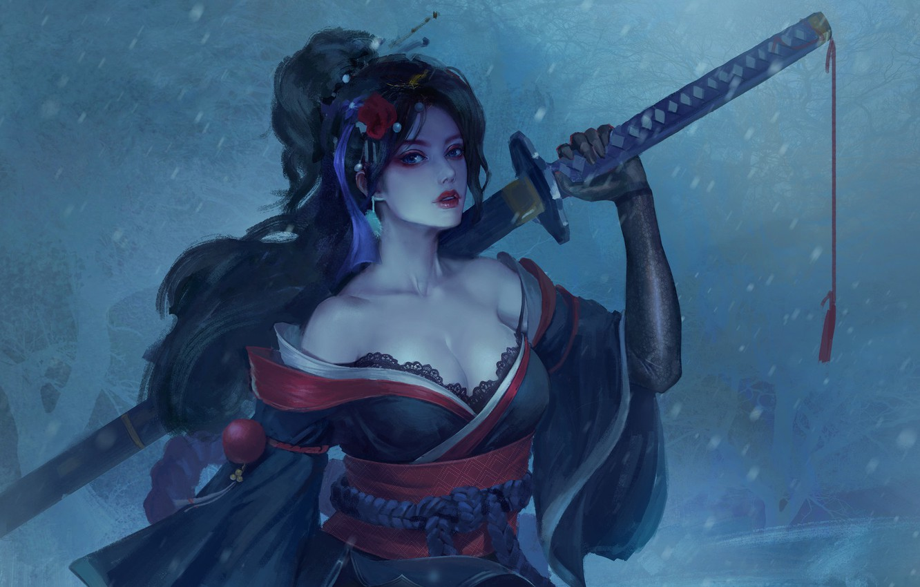 Photo wallpaper cold, flower, look, girl, snow, weapons, fantasy, art