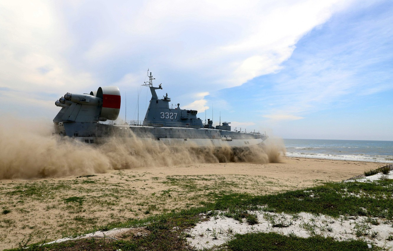 """Photo wallpaper Beach, Dust, Small landing craft air cushion, THE CHINESE NAVY, MDKVP """"bison"""", Project 958 """"Bison"""", …"""