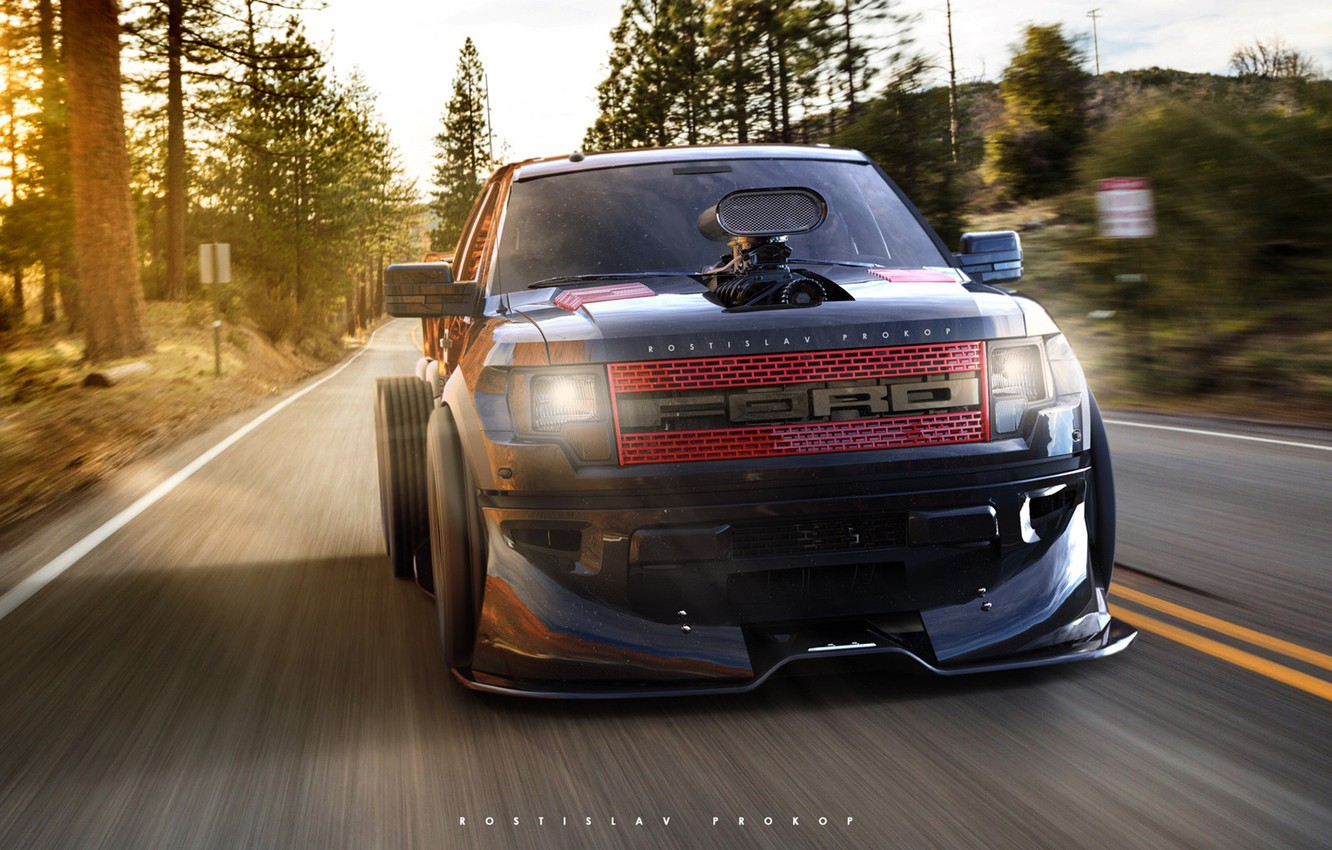 Photo wallpaper Auto, Machine, Ford, SUV, Rendering, F-150, The front, FORD, Rostislav Prokop, by Rostislav Prokop, FORD …