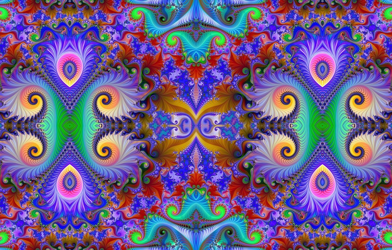 Photo wallpaper pattern, curls, color, fractal, bright