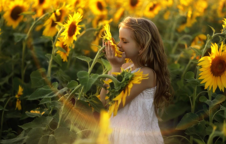 Photo wallpaper light, happiness, sunflowers, girl