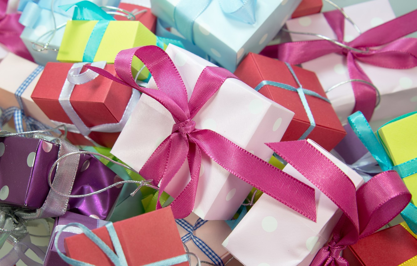 Photo wallpaper holiday, box, gift, colored, tape, gifts, bows, bow, a lot, different, box, bows