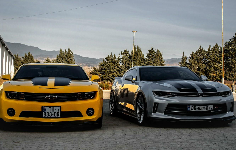 Photo wallpaper Chevrolet, Camaro, georgia, old, new, Orang, Silver, tbilisi, best cars
