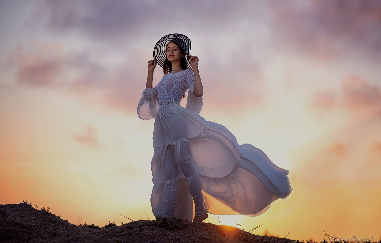 Photo wallpaper the sun, sunset, sunrise, Girl, Светлана Шинкарук.