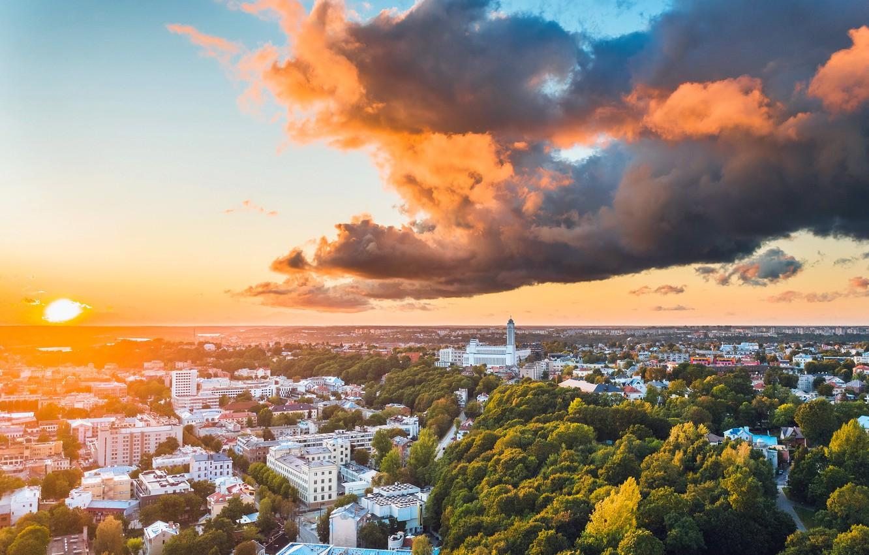 Photo wallpaper sunset, the city, Lithuania, Kaunas, panorama