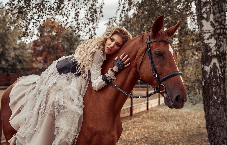 Photo wallpaper girl, pose, horse, horse, dress, rider, Maxim Clip
