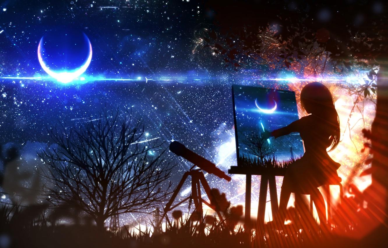 Photo wallpaper girl, night, the moon, fantasy, draws