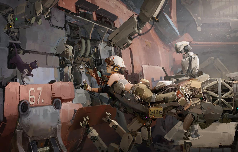 Photo wallpaper metal, girl, fantasy, robot, science fiction, cat, machine, sci-fi, artwork, fantasy art, pearls, workshop, Cyberpunk