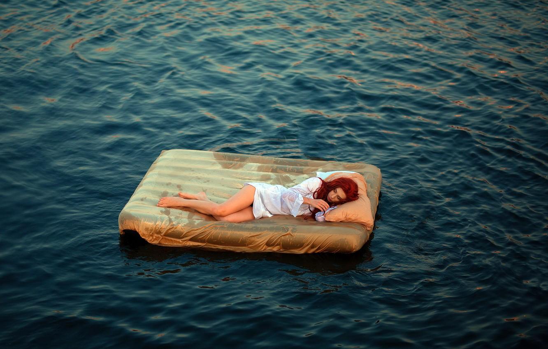 Photo wallpaper sea, girl, the situation