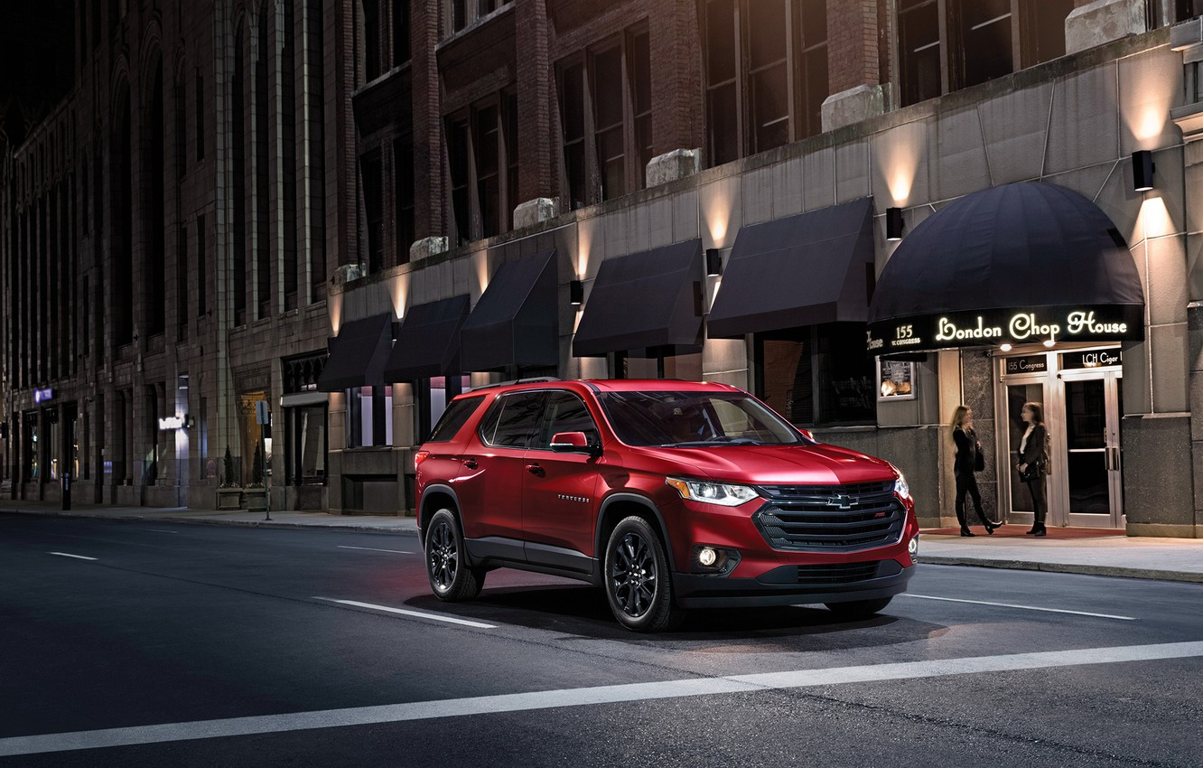 Photo wallpaper road, auto, night, street, Chevrolet, Traverse
