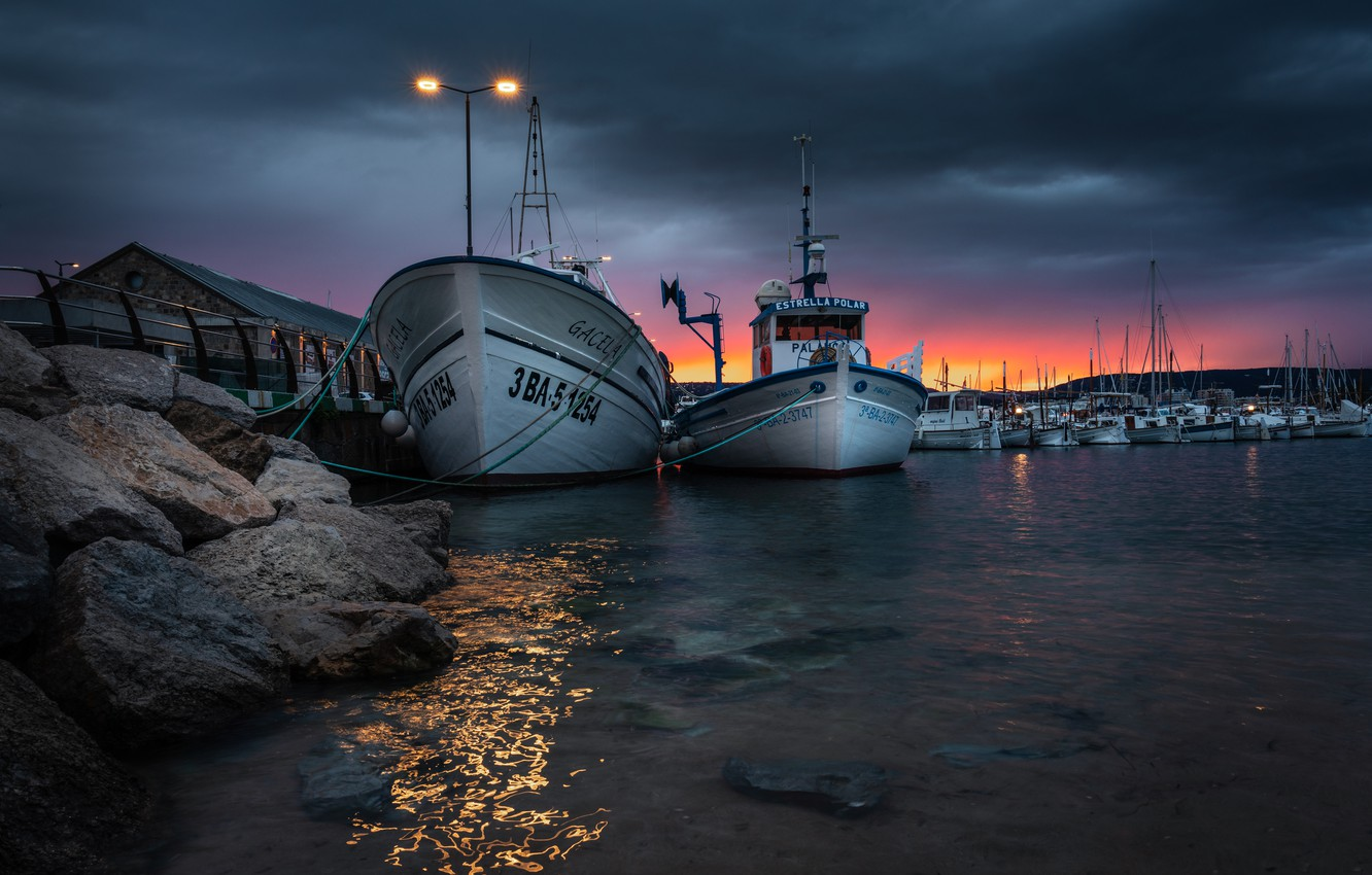 Photo wallpaper water, sunset, stones, boats, the evening, lights