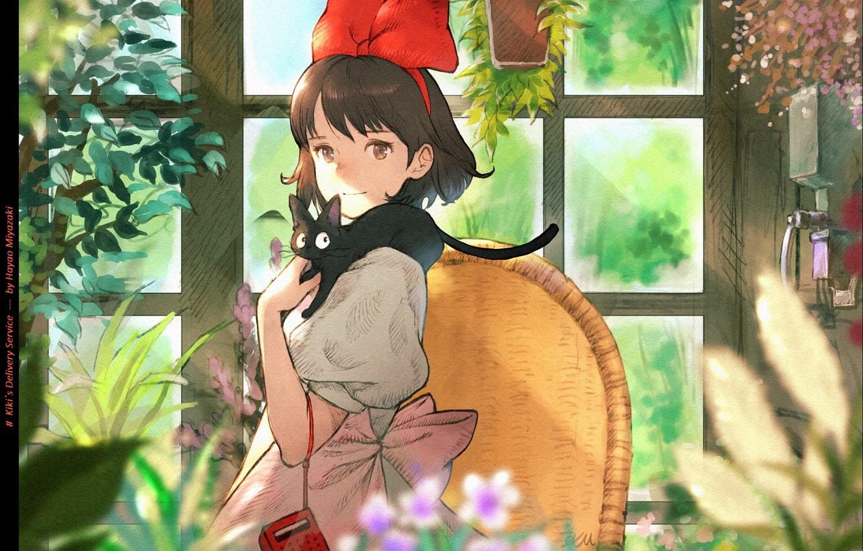 Photo wallpaper radio, girl, in the room, Hayao Miyazaki, window, Kiki, Kiki's delivery service, Jiji, red bow, …
