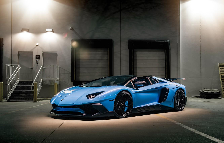 Photo wallpaper Lamborghini, Light, Blue, Aventador, VAG