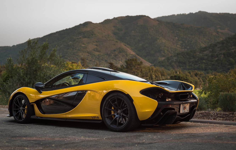 Photo wallpaper Hills, Yellow, Supercar, McLaren P1