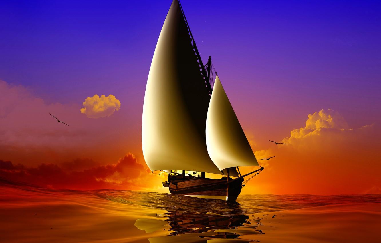 Photo wallpaper sea, wave, the sky, the sun, clouds, birds, ship, seagulls, sails, render, 3D Graphics