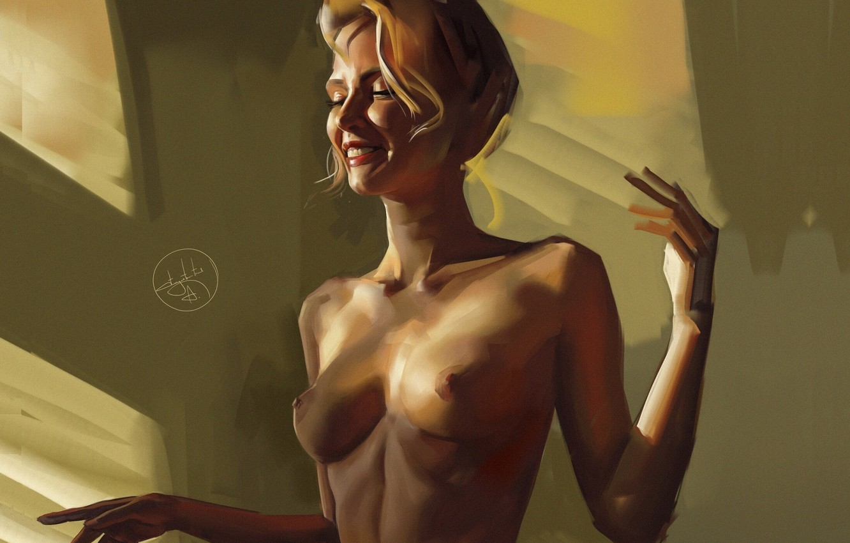 Photo wallpaper Nude, window, portrait of a girl, Alexander Sidelnikov