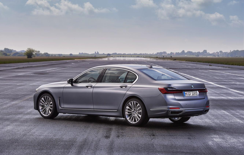 Photo wallpaper asphalt, BMW, sedan, four-door, G12, G11, 2020, 7, 7-series, 2019, full-size