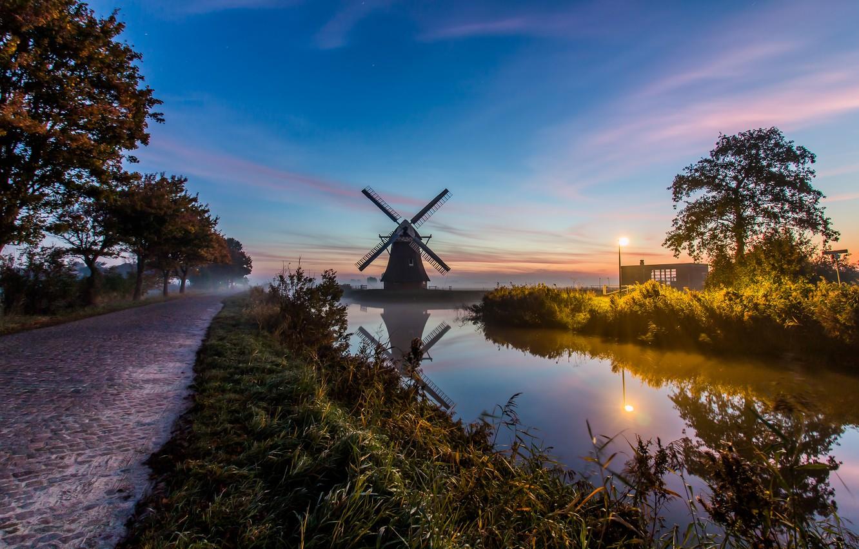 Photo wallpaper fog, morning, mill, channel, Netherlands, Holland