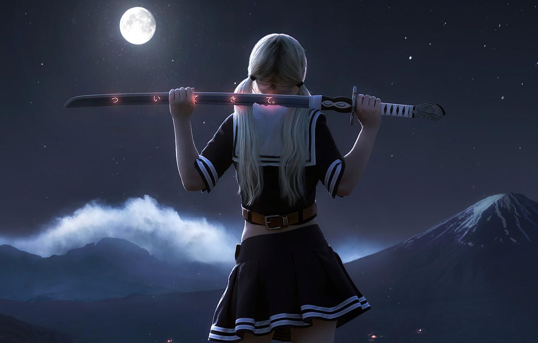 Wallpaper girl, moon, babydoll, night ...