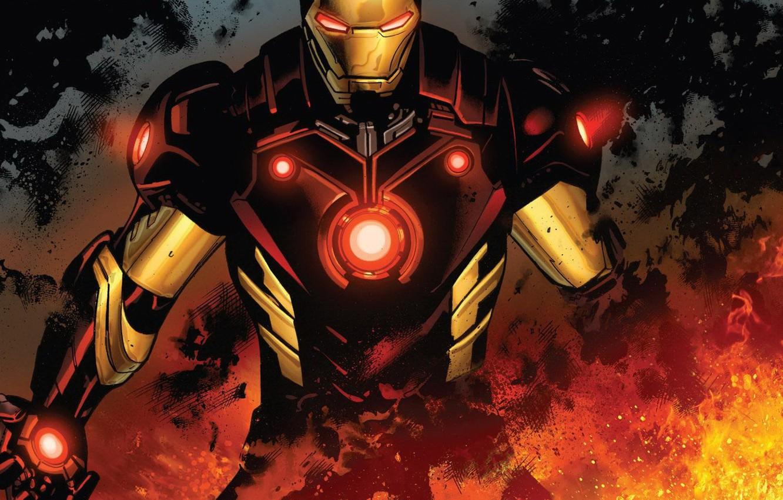 Photo wallpaper Fire, Costume, Hero, Comic, Fire, Superhero, Hero, Armor, Iron man, Iron Man, Marvel, Marvel Comics, …