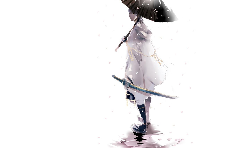 Photo wallpaper snow, katana, umbrella, puddle, white background, guy, the white cloak, Touken Ranbu, Tsurumaru Kuninagas, Dance …