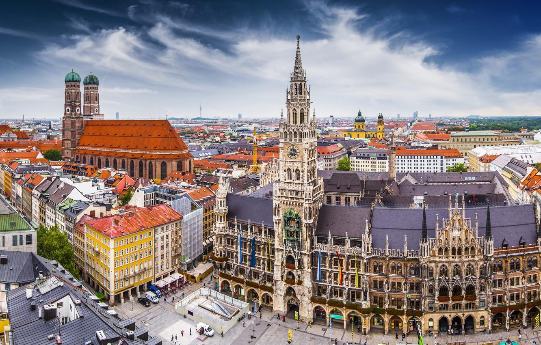 Photo wallpaper street, building, Germany, Munich, Marienplatz, Frauenkirche, New Town Hall